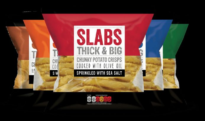 Slabs Crisps Variety Box, 18 x 80g Bags - Beef, Chilli, Salted, Cheddar & Onion,  Salt & Vinegar